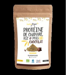 Protéine de chanvre, riz et pois Bio au chocolat